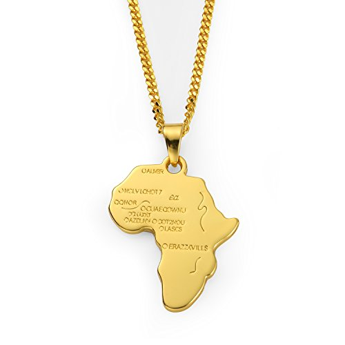 Aiyo Nice Hip Hop Jewelry 75cm Long Chain Platinum 18K Gold Plated African Map Pendant Necklace ()