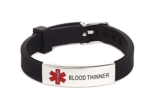 ''Blood Thinner'' Medical Alert ID Rubber Silicone Bracelet Adjustable Size for Men women Black by BAIYI