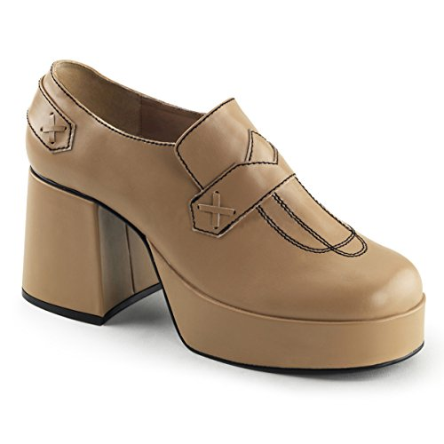 Summitfashions Mens Tan and Black 70s Shoes with 3.5'' Chunky Block Heel Costume Footwear Size: Large