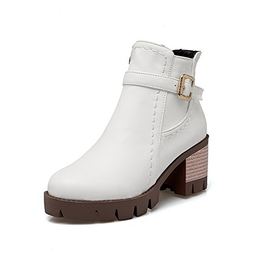 AmoonyFashion Womens Zipper Kitten-Heels PU Solid Low-Top Boots White ZnSD8Uc