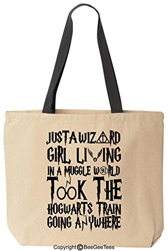 BeeGeeTees Just A Wizard Girl Living in A Funny World Funny Tote Bag (Black ()