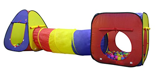 Kiddey 3Pc. Kids Play tent, Cubby-Tunnel-Teepee Pop-up Children Play Tent, ALL IN ONE, Great for Indoor and Outdoor