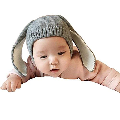 Way Be Live Baby Winter Warm Knit Hat Infant Toddler Kid Crochet Rabbit Ears Beanie Cap,Grey (Crochet Hat Beanie Cap)
