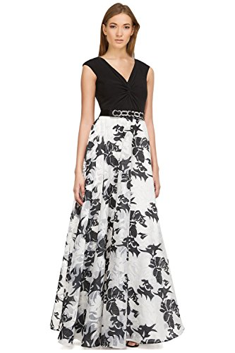 Teri Jon Floral Sleeveless V-Neck Evening Gown Dress