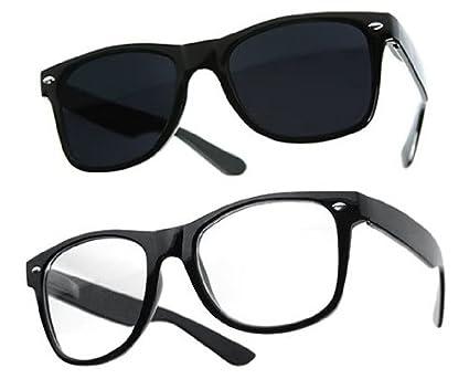 Lot de 3 paires de lunettes de soleil style Wayfarer geek retro vintage 80's - Noir + Rouge + Blanc - Verre noir - Fashion tendance KgeMBnkR2