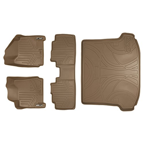 SMARTLINER Floor Mats (2 Rows) and Cargo Liner Set Tan for 2010-2016 Cadillac SRX