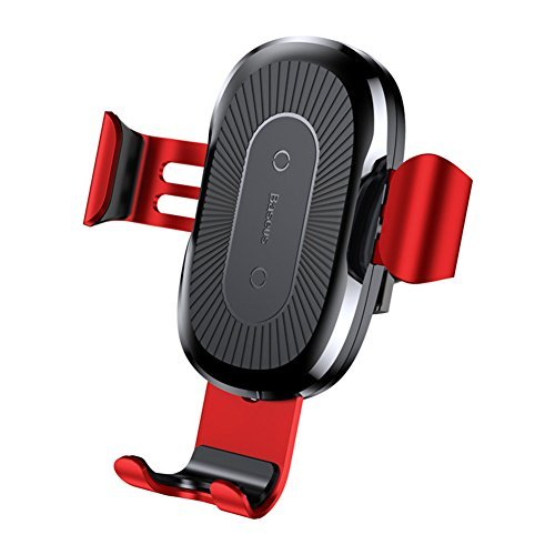 Baseus 10W Wireless Charger Car Holder For iPhone X 8 Samsung Note8 S8 QI Wireless Charging Charger Car Mount Phone Holder Stand (red)