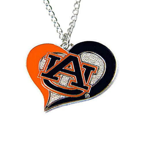 Aminco NCAA Sports Team Logo Auburn Tigers Swirl Heart Necklace