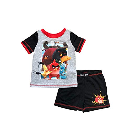 Boys Angry Birds Soft Knit Double Layered Short Sleeve with Black Red Angry Bird on Shorts Pajama Set