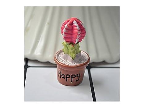 Kxrzu Estupendo Miniature Cactus Fairy Garden Micro Paisaje Casa de muñecas Decoración Estatuilla Bonsai (Feliz