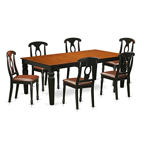 East West Furniture LGKE7-BCH-LC 7Piece Kitchen Table Set with One Logan Table & Six Dining Room Chairs in black & Cherry Finish