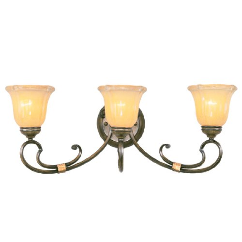 Livex Lighting 6223-62 Bath Vanity with Gold Dusted Sculpted Art Glass Shades, Windsor Walnut