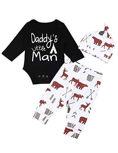Baby Boys Girls Clothes Daddy's Little Man Print Bodysuit Outfits Clothes Set with Hat