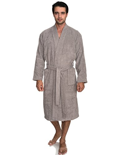 TowelSelections Men's Robe, Turkish Cotton Terry Kimono Bathrobe Large/X-Large Paloma Gray