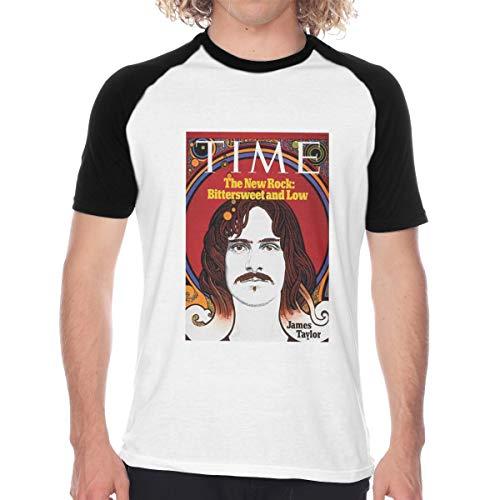 CUSARTSHOP Men's Regular-fit Short Sleeve Baseball T-Shirt, James Taylor Time 1971 Black