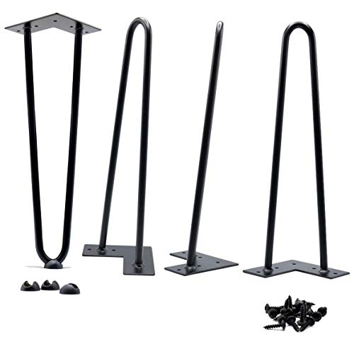 16 Inch Hairpin Legs Satin Black Coffee Table 2-Rod 1/2 Inch Thick - Set of 4 ()