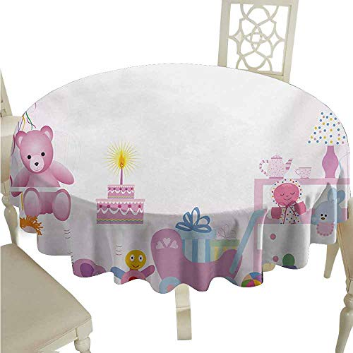 duommhome Kids Birthday Oil-Proof Tablecloth Baby Girl Birthday Celebration Party with Flags and Bears Cute Toys Print Easy Care D71 Pale Pink
