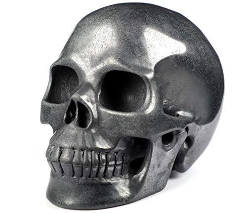 Skullis 5.0″ Hematite Crystal Skull, Hand Carved Gemstone Fine Art Sculpture, Reiki Healing Stone Statue.