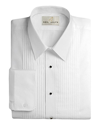 "Neil Allyn Men's Tuxedo Shirt 100% Cotton 1/4"" Pleat Laydown Collar, 16 (32/33)"