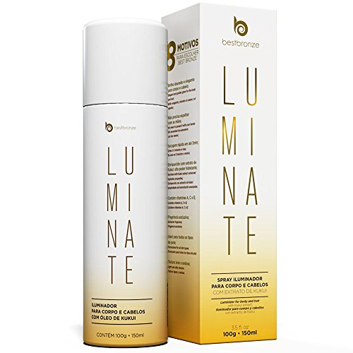 Bestbronze Luminate Shine Hair Spray and Body Golden Shimmer with KUKUI Extract, Vitamin A,C,E (3.5 fl oz) (Best Body Bronzer)