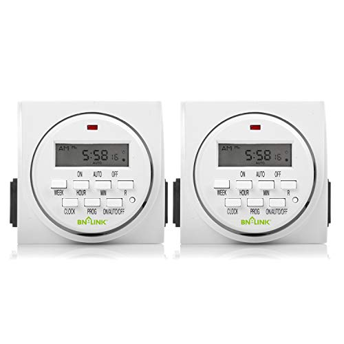 BN-LINK 7 Day Heavy Duty Digital Programmable Timer, FD60 U6, 115V, 60Hz, Dual Outlet, Indoor, Packaging May Vary, Dual Outlet, For Lamp Light Fan Security UL Listed(2 Pack) (Timer Digital 120v)