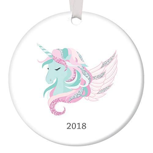 Pretty Unicorn Christmas Ornament Decorations Dated for Little Girl Pink Mint Cute Xmas Present Baby Newborn Ceramic Porcelain Keepsake