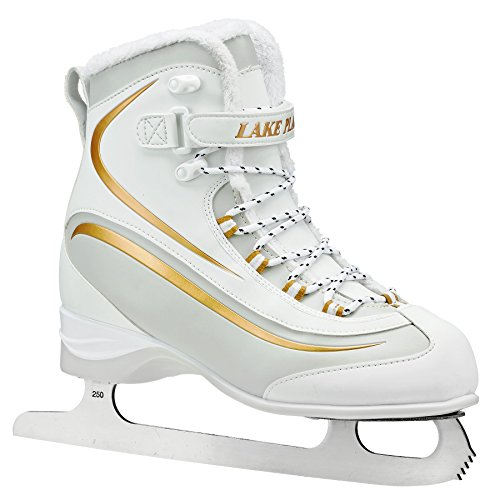 (Lake Placid LP695W08 Everest Women's Soft Boot Figure Ice Skate, White/Gold, Size 8)