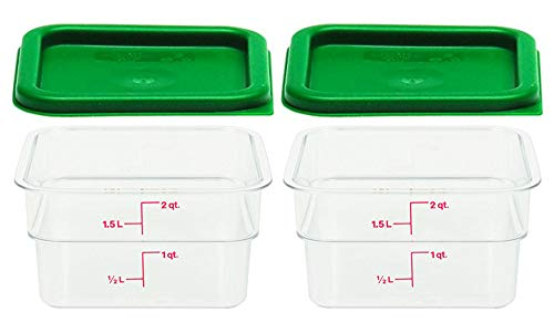 (Cambro Set of 2 Clear Square Food Storage Containers with Lids, 2 Quart (2 quart, set of 2))