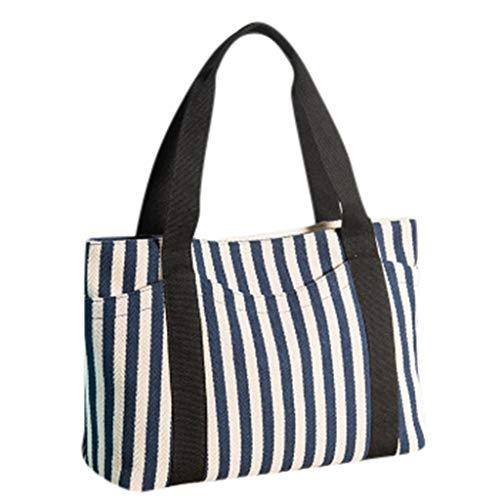 SUNyongsh Women 2019 New Fashion Striped Canvas Bag Casual Shoulder Bag tote Mummy Handbag