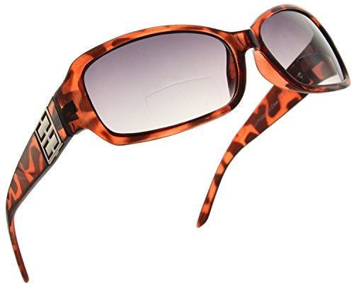 Fiore Bifocal Rectangle Reading Sunglasses Readers for Women [Light Tortoise, - Fiori 2 Light