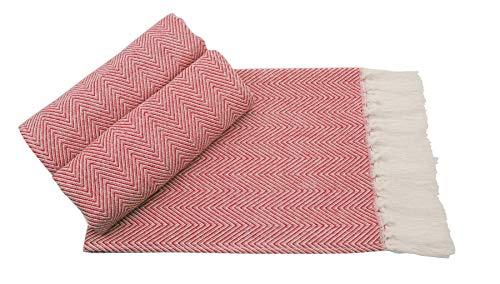 Mia'sDream Turkish Cotton Hand Towel Set Tassels Kitchen Tea Towel Napkin Dish Cloth for Room and Kitchen, 3 Pack, 16inch X 24inch, Red