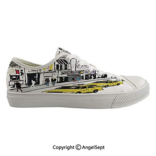 Durable Anti-Slip Sole Washable Canvas Shoes 17.32inch Times Square New York with People in Street Taxi Cabs Traffic Fashion Illustration,Multicolor Flexible and Soft Nice Gift (Best Shoes For Flat Footed Person)