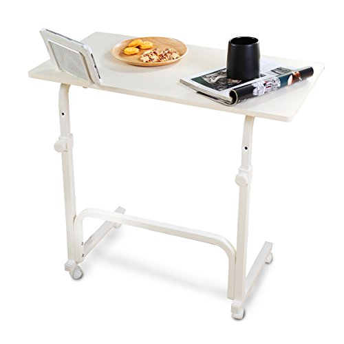 1208S Mobile Laptop Desk Cart Adjustable Overbed Tables on wheels with Tablet Stand, White by 1208S