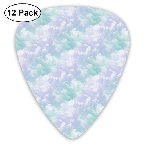 (Pejer Premium Celluloid Guitar Picks, Purple Green Cloud Overlay Guitar Picks Plectrums Acoustic Guitar Ukulele Picks 0.46 Mm, 0.73mm, 0.96 Mm,12 Pack)