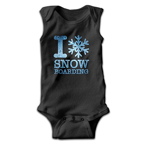 Toddler I Love Snowboarding Sleeveless Onesies Outfits - Onesie Snowboarding