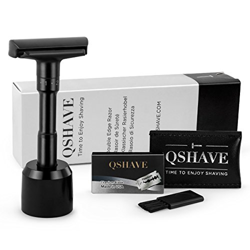 QSHAVE Adjustable Double Edge Safety Shaving Razor Deluxe Set (Razor with (Adjustable Safety Razor)