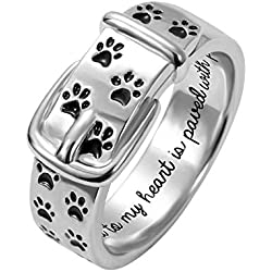 AILIN Pet Lover Dog Paw Print Collar Remembrance Ring 925 Sterling Sliver Engraved Rings Dog Love Ring Size 7