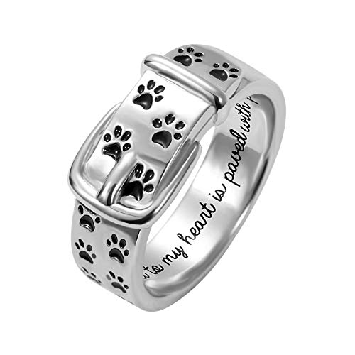 - AILIN Pet Lover Dog Paw Print Collar Remembrance Ring 925 Sterling Sliver Engraved Rings Dog Love Ring Size 9.5