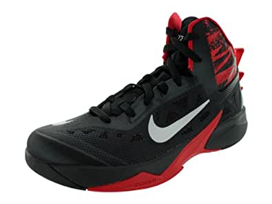 Nike Men's Zoom Hyperfuse 2013 Black/Mtllc Silver/Unvrsty Rd Basketball Shoes 8 Men US