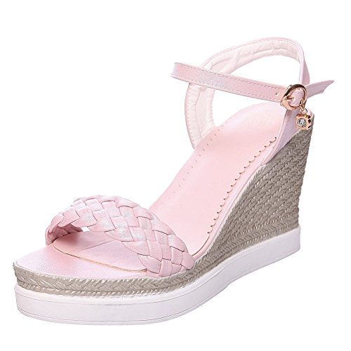 Mee Chaussures Boucle Causale Des Femmes Plate-forme Sandales Talon Compensé Rose