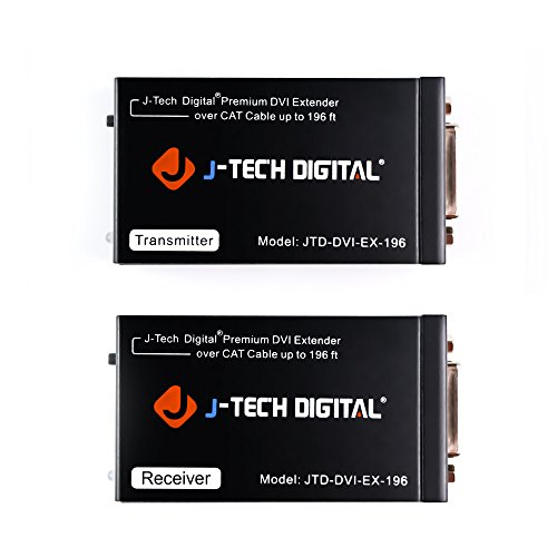 J-Tech Digital ProAV Premium Quality DVI Extender / DVI Amplifier / DVI Splitter over CAT 5 / CAT 5E / CAT 6 Ethernet Cable - Cable 5m Dvi Digital Video