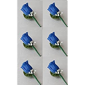 Set of 6 Royal Blue Rose Boutonniere with Pin for Prom, Party, Wedding 87