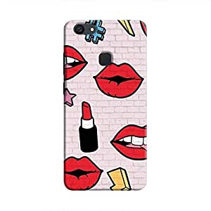 Cover It Up Lipstick Stickers Wall Hard Case For Vivo V7 Plus - Multi Color
