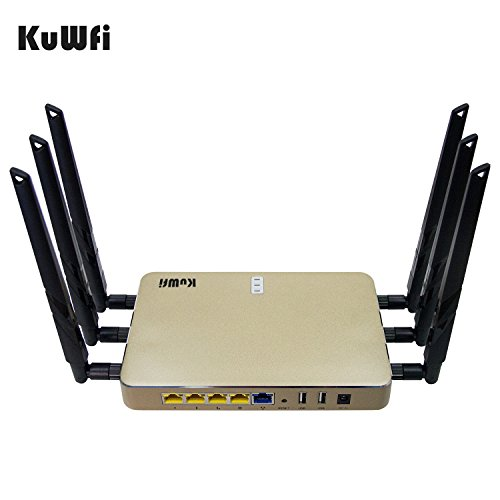 KuWFi High Power Wireless Gigabit Router, wireless Gigabit Access Point 802.11 ac router 1200Mbps Cover Long Area Support more than 100Users easy to Use Through walls 2000mW 128M DDR2 RAM for Home by KuWFi (Image #3)