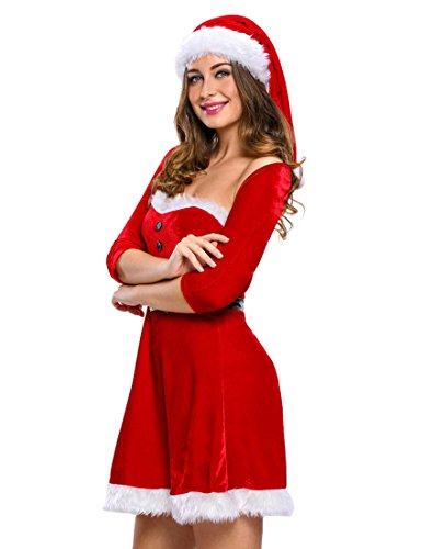 Slocyclub Women Christmas Santa Long Red Dress