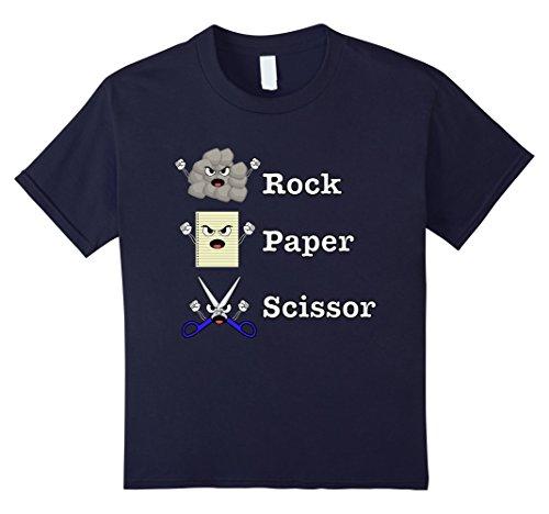 Kids Rock Paper SCISSORS Fun Game T-Shirt for Teachers 6 Navy