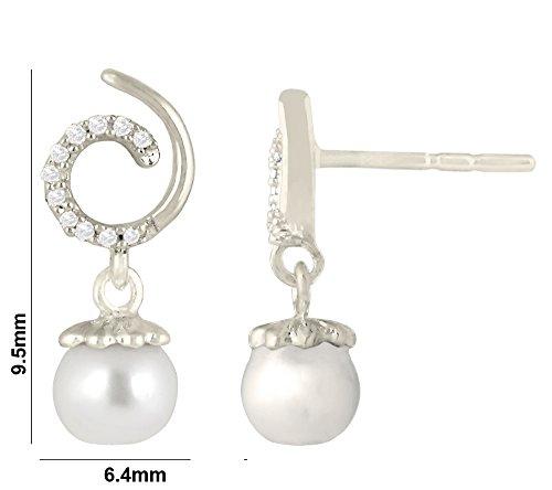 Libertini Boucle d'oreille argent 925 serti de Diamant et Perle en fArgentme de Rond