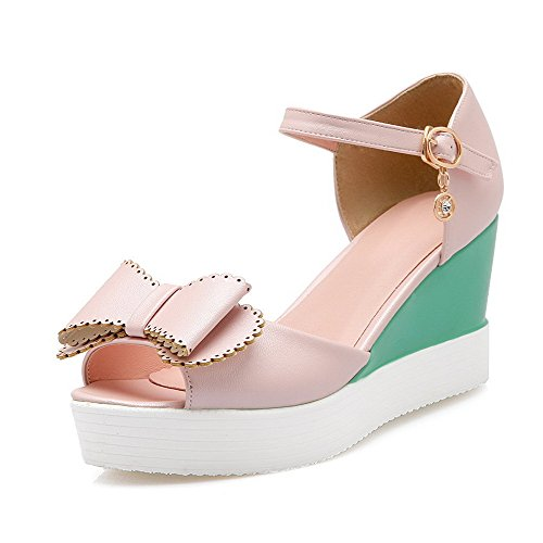 VogueZone009 Women's Buckle High-Heels Soft Material Solid Open Toe Sandals Pink LbYu8rv