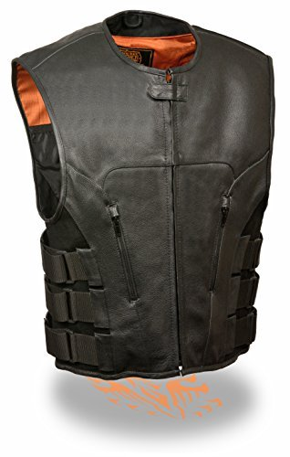 Men's Updated Bullet Proof Style Swat Vest (NOT BULLETPROOF) Single Panel Back & Wide Arm Holes Perfect for Clubs Patches (Large)