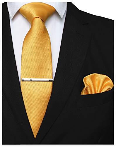 JEMYGINS Gold Formal Necktie and Pocket Square Tie Clip Sets for Men (gold-3)